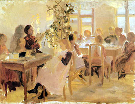 Anna Ancher - A sewing school in Skagen