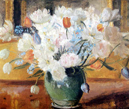 Anna Ancher - Tulips in a green vase