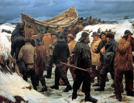 Michael Ancher - The life raft is pulled by the dunes