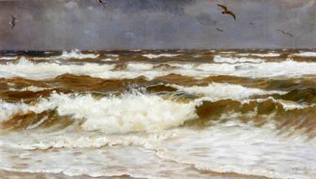 Michael Ancher - Wellen und Möwen