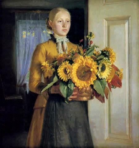 Michael Ancher - Muchacha con girasoles