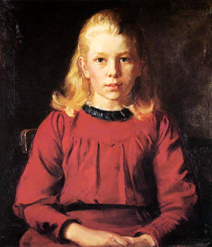 Michael Ancher - The eleven-year old Helga in red dress