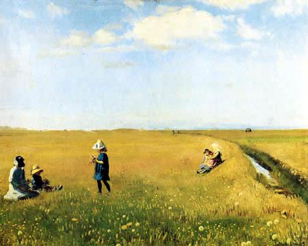Michael Ancher - Les enfants cueillant des fleurs sur le terrain
