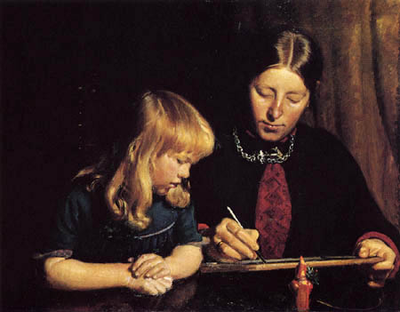 Michael Ancher - A mother teaches her daughter drawing