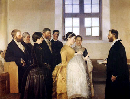 Michael Ancher - Kindstaufe in Skagens Kirche