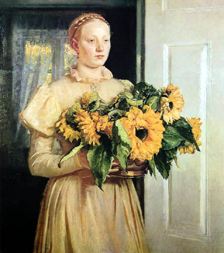 Michael Ancher - The Girl with Sunflowers