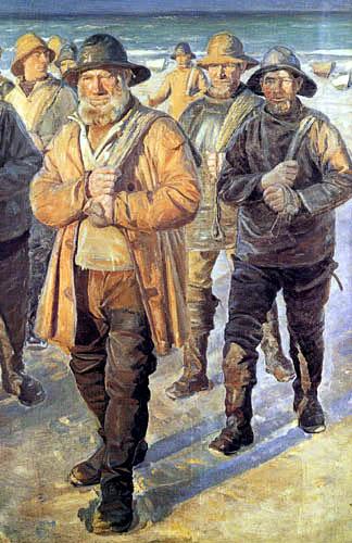 Michael Ancher - Fischer in der Abendsonne