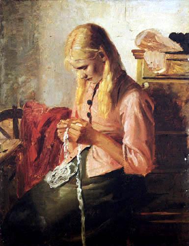 Michael Ancher - Häkelndes junges Mädchen