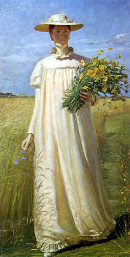 Michael Ancher - Anna Ancher come back from the field