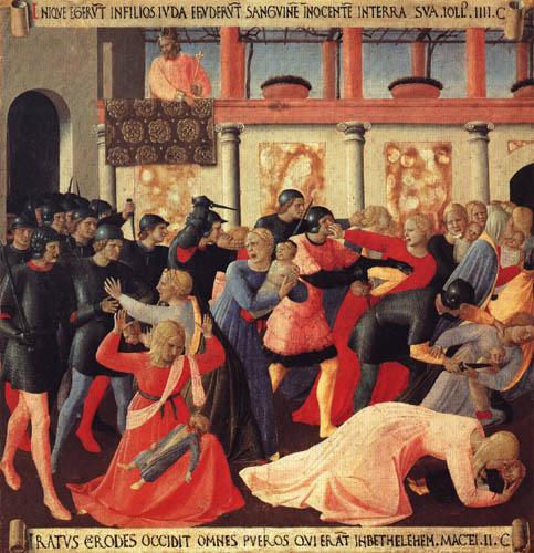 Fra Angelico (Fra Giovanni da Fiesole) - Armadio- Child murder of Bethlehem (detail)