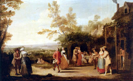 Pieter Angellis - Country folk eating and dancing
