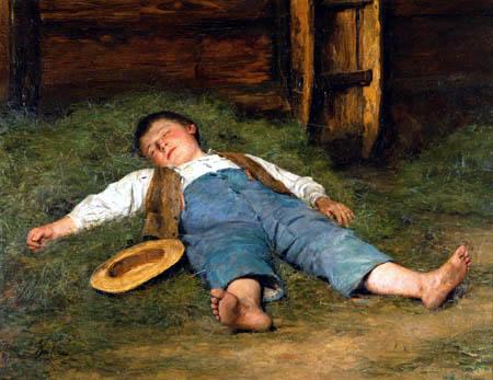 Albert Anker - Sleeping boy