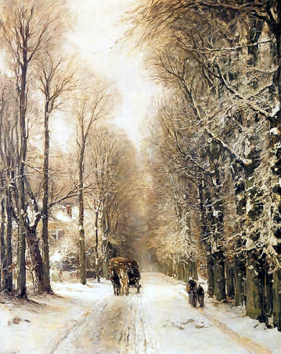 Louis Apol - A snowy lane with a horse carriage