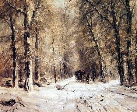 Louis Apol - Verschneiter Waldweg mit Pferdewagen