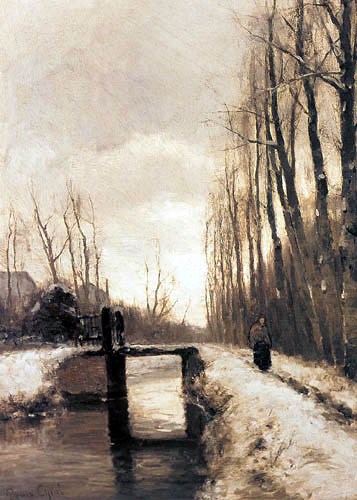 Louis Apol - A winter landscape with a figure on a path