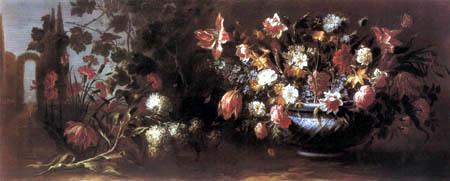 Juan de Arellano - Flower still life in a landscape