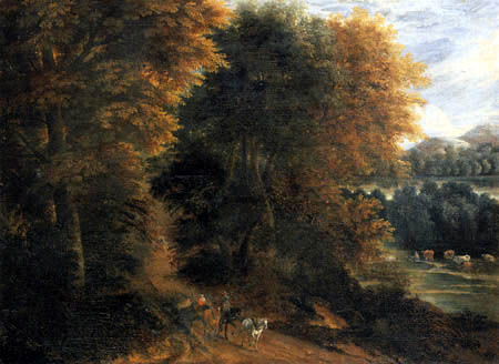 Jacques d´ Arthois - An wooded landscape with travellers in a wagon