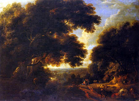 Jacques d´ Arthois - An wooded landscape with travellers