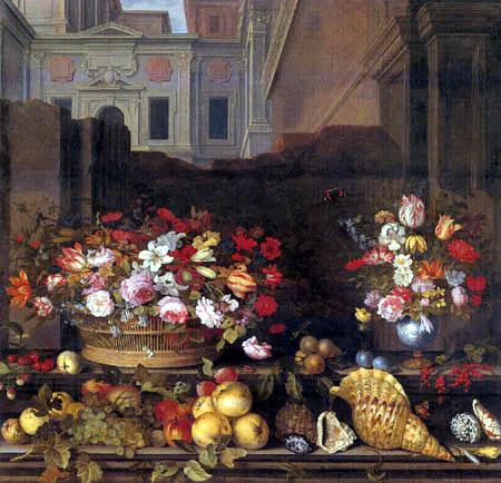 Balthasar van der Ast - Flower still life with fruits