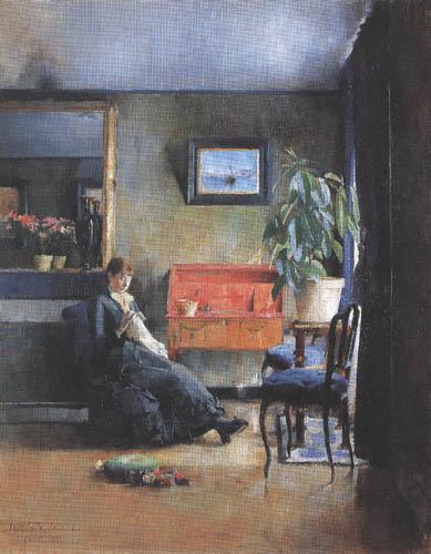 Harriet Backer - Blue Interieur