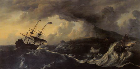Ludolf Backhuysen (Backhuisen) - Storm in a mountainous coast