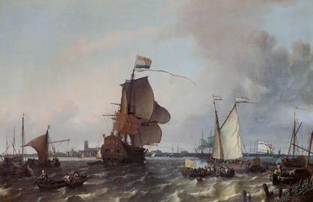 Ludolf Backhuysen (Backhuisen) - Fregatte Brielle vor Rotterdam