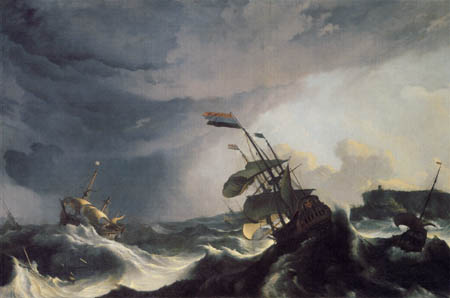 Ludolf Backhuysen (Backhuisen) - Ships in distress