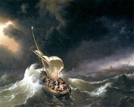 Ludolf Backhuysen (Backhuisen) - Christ in the storm on the Sea of Galilee