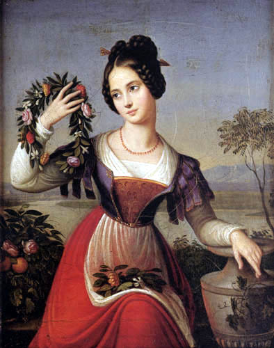 Marie Caroline Bardua - The Girl with the Floral Wreath