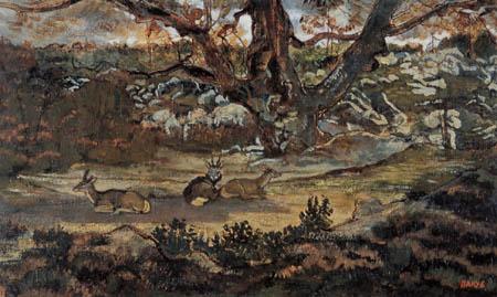 Antoine-Lois Barye - Deer under an oak