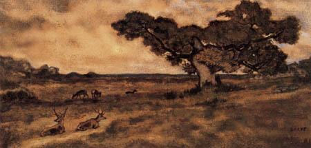 Antoine-Lois Barye - Deer in the meadow