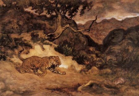 Antoine-Lois Barye - Jaguar entdeckt eine Schlange