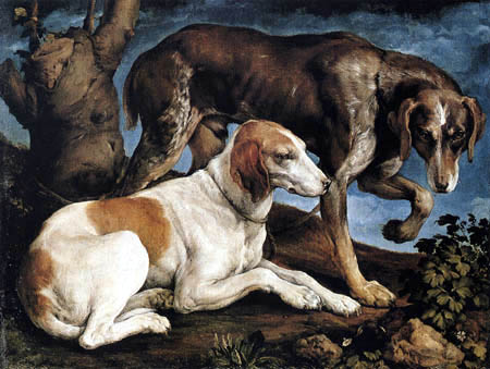 Jacopo Bassano - Two dogs
