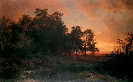 August Becker - Wooded landscape