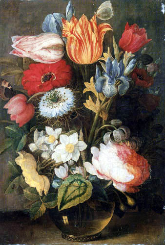 Osias Beert - Tulips, Roses and other Flowers in a Glass Vase