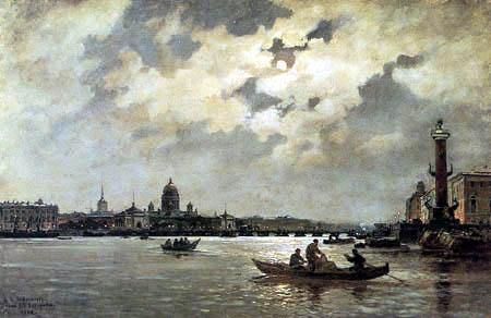 Alexander Carlovich Beggrow - Blick auf die Newa und auf den Admiralitätskai