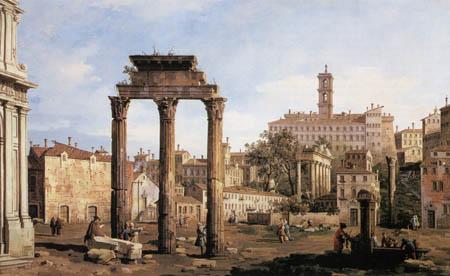 Bernardo Bellotto, Belotto (Canaletto) - Römisches Forum mit Tempel, Rom