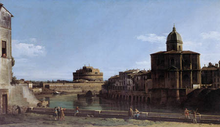 Bernardo Bellotto, Belotto (Canaletto) - Vista al Tíber, Roma