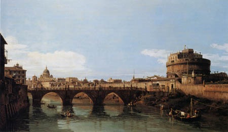 Bernardo Bellotto, Belotto (Canaletto) - View of the Tiber with Castel Sant`Angelo, Rome