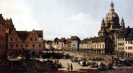 Bernardo Bellotto, Belotto (Canaletto) - Neuer Markt in Dresden von der Moritzstraße