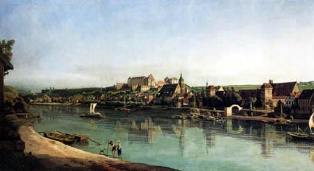 Bernardo Bellotto, Belotto (Canaletto) - Pirna en Copitz visto desde la orilla derecha del Elba