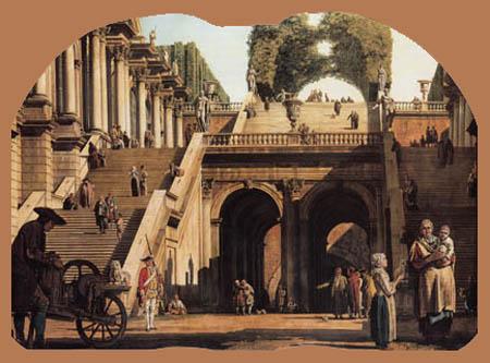 Bernardo Bellotto, Belotto (Canaletto) - Treppen vom Palast zum Park