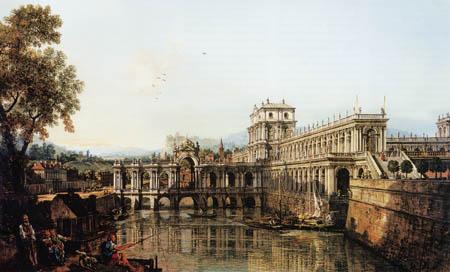 Bernardo Bellotto, Belotto (Canaletto) - Studie mit Palast und Brücke