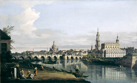 Bernardo Bellotto, Belotto (Canaletto) - Dresden from the Right Bank of the Elbe below the Augustus Bridge