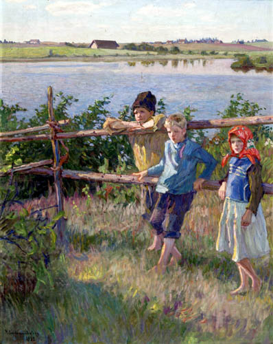Nikolay Bogdanov-Belsky - Children by a Lake