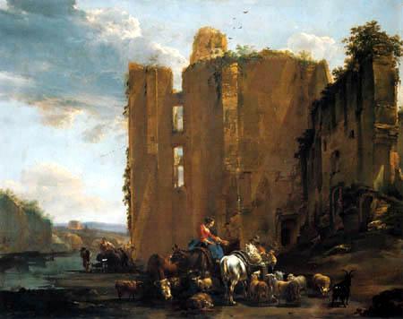 Nicolaes Berchem (Berghem, Berrighem) - Italienische Ruinenlandschaft mit Viehherde