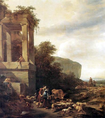 Nicolaes Berchem (Berghem, Berrighem) - Jacob and Rachel at the Well
