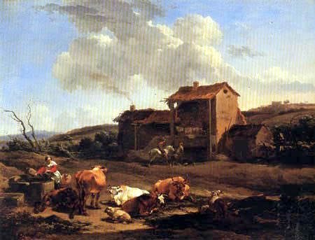 Nicolaes Berchem (Berghem, Berrighem) - Landschaft mit Brunnen