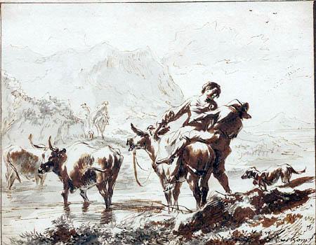 Nicolaes Berchem (Berghem, Berrighem) - Cows Crossing a River