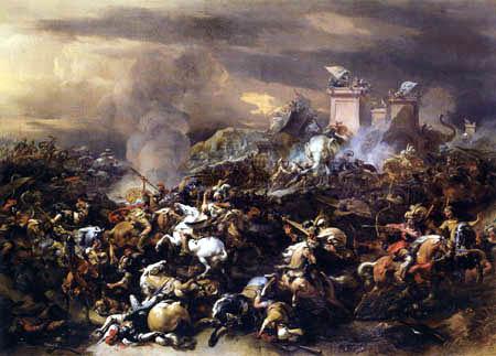Nicolaes Berchem (Berghem, Berrighem) - Die Schlacht zwischen Alexander und Poros